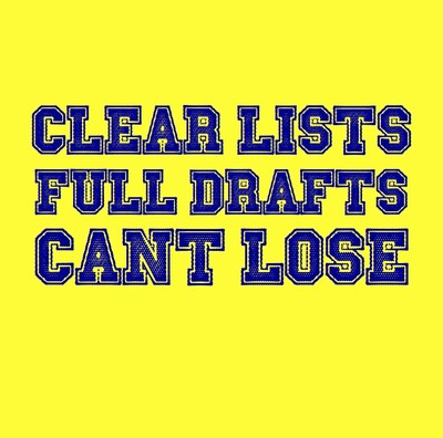 Clear Lists, Full Drafts, Can't Lose