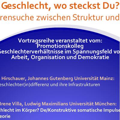 """Vortragsreihe """"Geschlecht, wo steckst Du? Eine Spurensuche zwischen Struktur und Subjekt"""""""